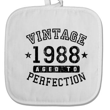 30th Birthday Vintage Birth Year 1988 White Fabric Pot Holder Hot Pad by TooLoud