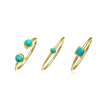 Turquoise 14K Gold Plated Sterling Midi Knuckle Ring Set 1MM Band