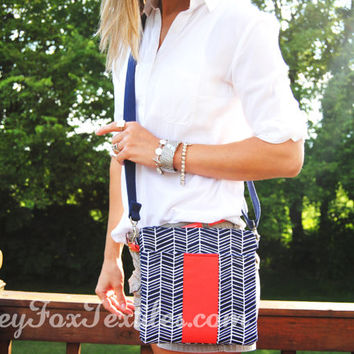 Handmade Designer fabric Navy Blue and coral herringbone / Chevron /  cross body / messenger / hip bag / sling / travel