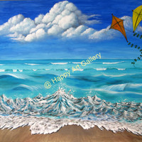 Seacsape Kites waves Beach Sky blue white red yellow - 24X20 in Original  Acrylic Painting on Canvas Free Shipping Wall Decor