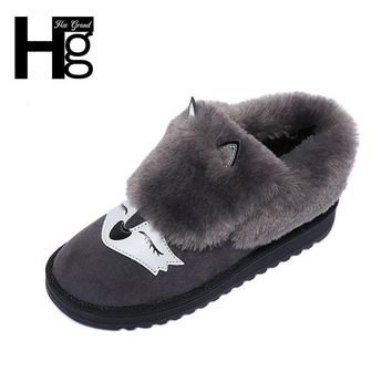 HEE GRAND Winter Snow Boots Black Grey Cute Fox Animal Faux Fur Plush Warm Soft Insole Thick Bottom Women's Shoes XWX6176
