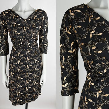Vintage 50s Dress / 1950s Black and Gold Embroidered Knit Dress M