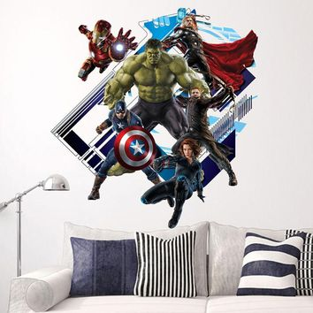"""Creative Home Decor 3D Wall Stickers Movie Star """"Marvel's The Avengers"""" For Baby Room 60*60 CM Mural Art Decals Wallpaper"""