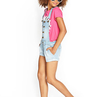 FOREVER 21 GIRLS Buttoned Overall Shorts (Kids) Denim 5/6