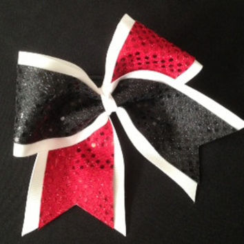 Custom Cheerleader Sequin Hair Bow Navy White Black Red
