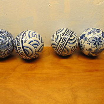 FLO BLUE SET OF FOUR DECORATIVE CHINA BALLS WITH DIFFERENT DESIGNS