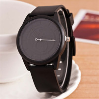 HIGHT QUALITY WOMENS FASHION CASUAL BLACK SILICONE SPORTS WATCH  384