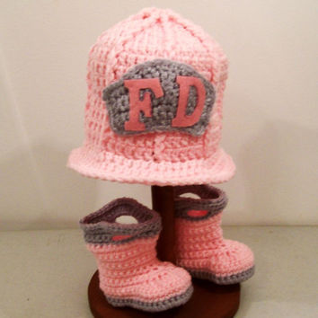 Baby Girls Crochet, Fireman Boots and Hat, Pink and Grey, Baby Girl gift, Baby shower Gift, Handmade in the USA, #12