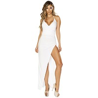 Sexy Dance To This Ruched Wrap High Slit White Maxi Dress