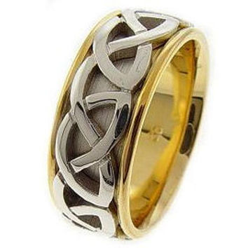 Two Tone Gold Celtic Knot Wedding Band
