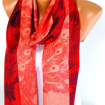 Scarf, Shawl, Pashmina Scarf, Peacock Feather Patten Scarf, Pashmina Shawl, Fall Fashion Accessories, Women's Accessory, Gift for Christmas