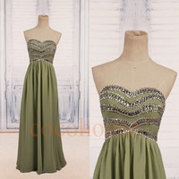 Pea Green Beaded Long Prom Dresses 2015, Fashion Bridesmaid Dresses, Homecoming Dresses, Evening Dresses, Wedding Party Dresses, Party Dress