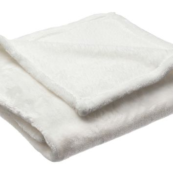 Simple Deluxe Sofantex Luxury Reversible Plush Throw Blanket, 60 by 80-Inch, Off-White