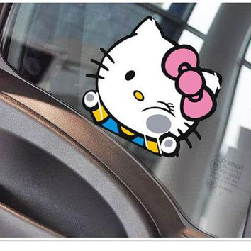 Aliauto Car Accessories Funny Hello Kitty Hit The Glass Cute Car Stickers And Decals For Ford Focus Volkswagen golf Skoda Kia