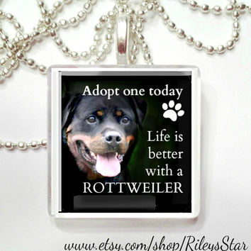 Adopt a Rottweiler Game Tile Pendant