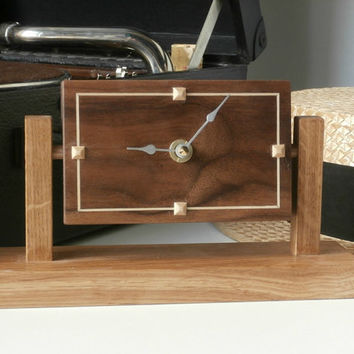 contemporary clocks, gifts for him  wood - walnut and sycamore 'art deco' design