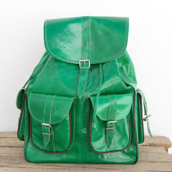 SALE - Extra Large Green Pistachio Leather backpack satchel bag Handmade Soft Leather School College Travel Picnic Weekend bag