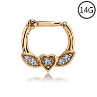 Gold Plated Septum Clicker Nose Ring Hoop Ear Cartilage Helix Clear CZ 14G