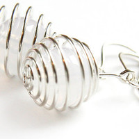 Wire Wrapped Spiral Ball Earrings Pure White by KapKaDesign