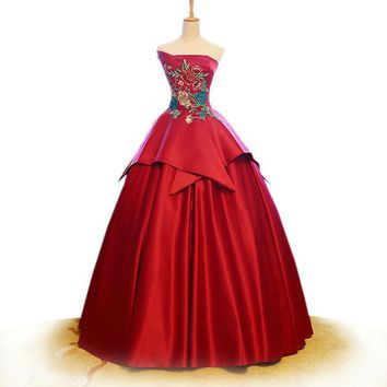Bridal gowns red satin Embroidery bridal dress sexy off shoulder elegant Chinese style wedding Ball Gown