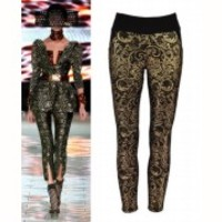 Black Skinny Jeans Leggings Pants Trousers Metallic Gold Grace All Over Baroque
