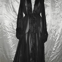 DARK LADY - Black Fur Dressing Gown ( Burlesque , Boudoir , Drag Queen Costume , Sexy Lingerie , Sex Hot Stripper Hollywood Glamour Luxury )