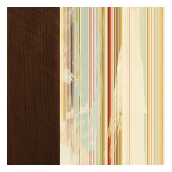 Stripes on Walnut, Original Art Print, Abstract, Distressed, Multicolored, 12x12
