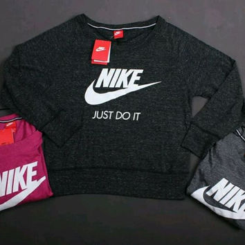 """Nike"" Women Sports Casual Letter Print Knit Long Sleeve Sweater T-shirt Tops"