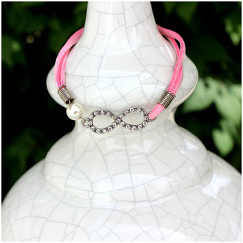 Sterling Silver and Soft Pink Leather-Type Infinity Bracelet
