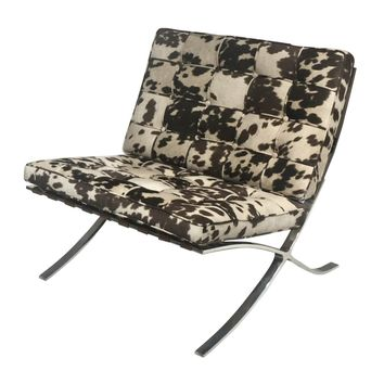 Barca Fabric Accent Chair Brown Cow Print