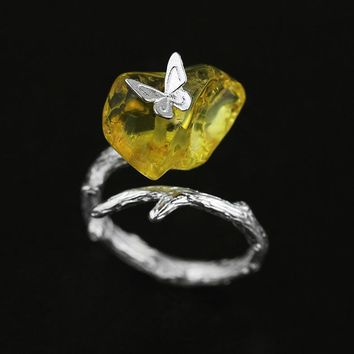 YESWOMEN 925 Sterling Silver Jewelry Natural Amber Butterfly Ring For Women Girl Friend Gift