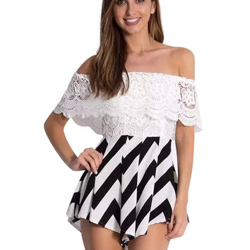 Black& White Frilled Floral Lace Off Shoulder Romper with Chevron Print Detail