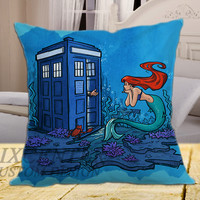 Tardis Dr Who With Ariel Little Mermaid on square pillow cover 16inch 18inch 20inch