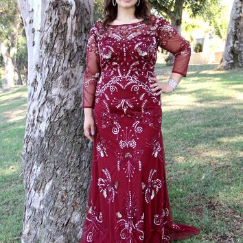 Long Sleeve Embellished Evening Gown 1281W