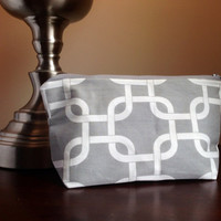 Make up cosmetic bag zipper pouch clutch  gray by BlueBearDesigns