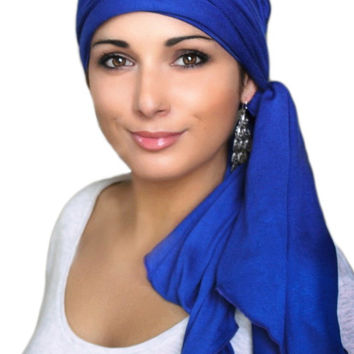 Royal Blue Jersey Turban, Head Wrap, Alopecia Scarf, Chemo Hat and Scarf Set