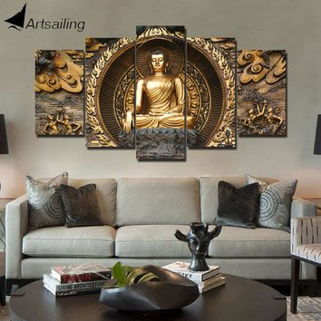 ArtSailing HD print 5 piece canvas art Golden abstract Buddha Painting wall pictures for living room posters home decoration