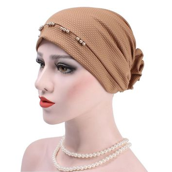 New Arrival Beadings Back Flower Headwear Headwrap African Head Wrap Hair Band India Cap Turban Bandana Women Hat Accessories