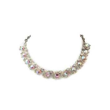 Pink Aurorea Borealis Collar Choker Necklace In Gold Tone
