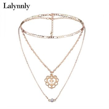 Lalynnly Gold Love Metal Collar Choker Necklace Set Cute Cross Long Chain Jewelry For Women Wedding Party Fashion 2018 N61831