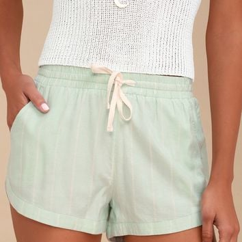 Road Trippin Mint Blue Striped Shorts
