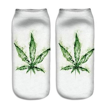 Green Smoke Weed Leaf Ankle Socks