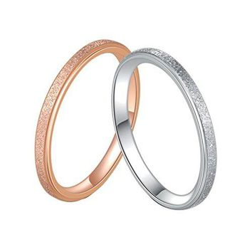2MM Womens Stainless Steel Thin Rose Gold Silver Stackable Midi Ring Engagement Wedding Band