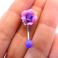 Detailed Purple Rose Belly Button Ring Flower Navel Stud Jewelry Bar Barbell Piercing