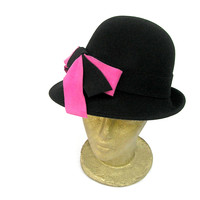 Winter Women Black Wool Felt Vintage Style Hat with by curtainroad
