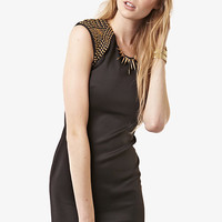 Black Studded Cap Sleeve Dress at Fashion Union