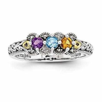 Mother's Sterling Silver Birthstone Ring W/ 14K Three Stones & Diamond Antique Finish