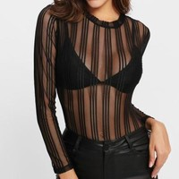 Striped Sheer Bodysuit
