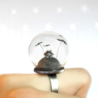 Miniature ring-Scary little gray house and bats - fantasy adjustable ring