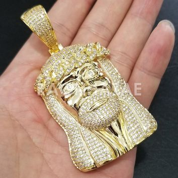 New Iced Out Lab diamond Micro Pave JUMBO Jesus Face Pendant.